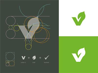 V + Leaf + Verified Vegan Mark v monogram v mark v logo vegetable logo vegan logo vegan veggie logo veggie leaf leaf logo logo grid monogram mark branding logo identity