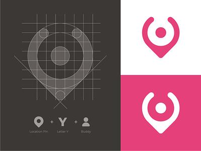 Location Pin + Y + Buddy Mark y mark y monogram y logo location logo location pint tech logo software logo logo grid mark branding logo identity
