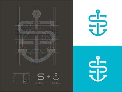S + Anchor Mark sail logo boat logo anchor logo anchor s s monogram s logo software logo logo grid monogram mark branding logo identity