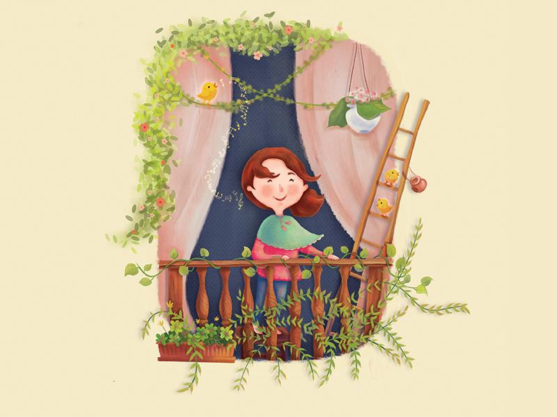 Nour birds design character book children garden balcony flowers soul pure happiness