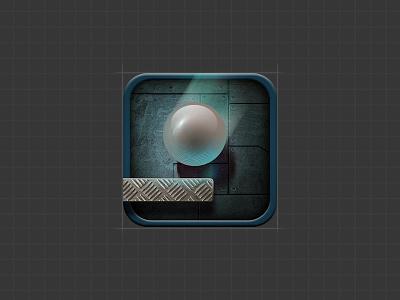 Falldown Game Icon skeuomorph texture metal sensible gyroscope falling ball fall down game icon hungrybolo