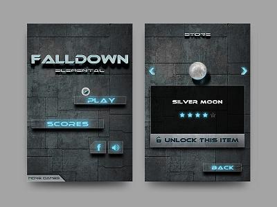 Falldown Game Screens skeuomorph cyberpunk texture elements elemental metal sensible gyroscope falling ball fall down hungrybolo