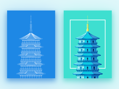 Leifeng Pagoda poster art design illustration
