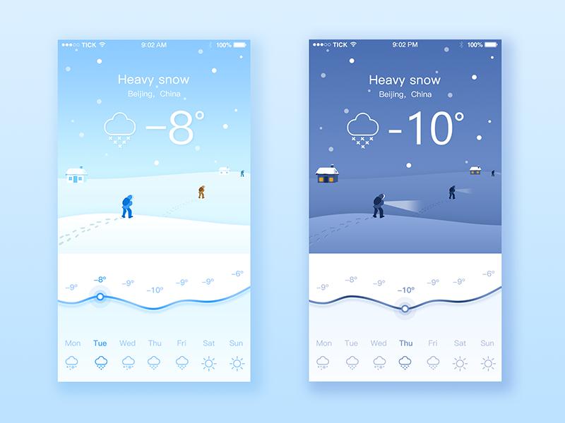 Wearther App ios design mobile illustration snow wearther flat app ui