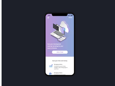mobile version of  landing page for XTEND