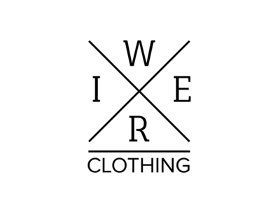 WIRE Clothing brand label logo clothing cross identity brand design clean branding typography logotype