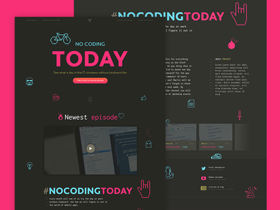 ⌨️ NO CODING TODAY typography font gradient 8bit icons simple landing webdesign web coding
