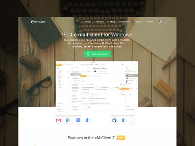 eM Client Redesign Concept flat webdesign web visual design simple product page ui minimalistic landing page ux clean