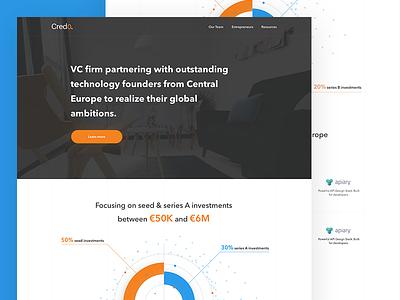 💰 Venture Capital Fund Landing Page Concept menu header clean modern flat venture capital graph landing