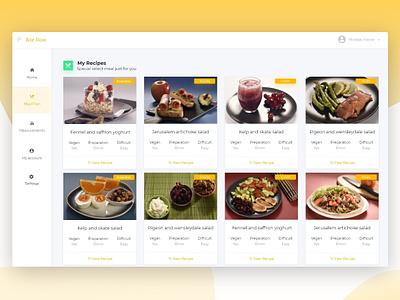 Recipes ux ui web desgin food app meal dashboard design dashboard