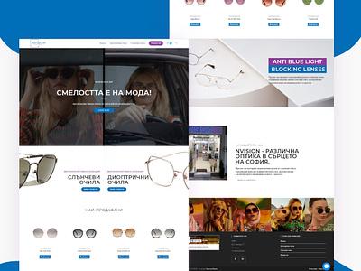 NVISION Optic House e-commerce ecommerce glasses sunglasses optics ux ui homepage design website webdesign