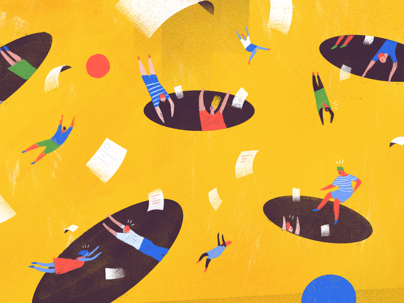 The 8 Biggest Mistakes to Avoid When Applying For a Remote Job chaos hole flying remote editorial todoist doist twist illustration productivity
