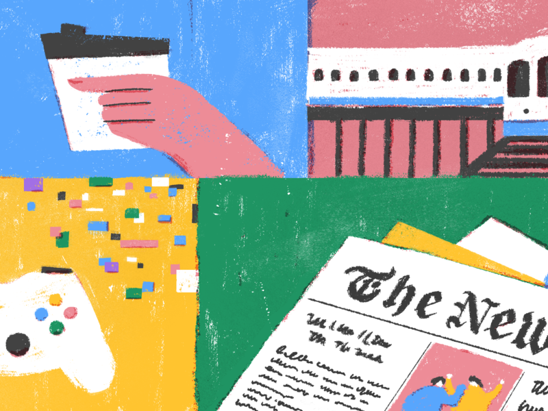 How The New York Times' Smarter Living Editor Gets Things Done procreate sketch header character design web peaceful life calm editorial todoist doist productivity illustration