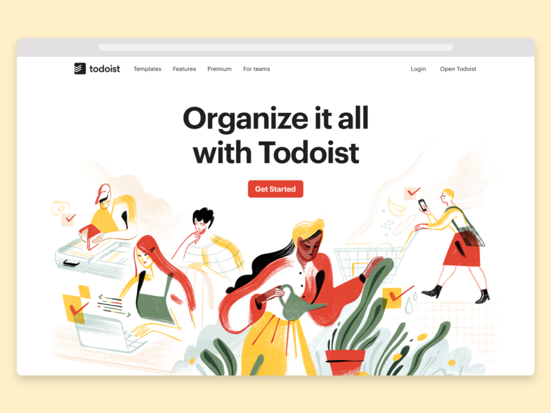 Todoist Marketing pages update ✅ organize ambition teamwork peaceful calm todoist productivity doist illustration