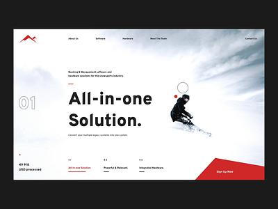 Slope ski snow motion landing product design design ux web ui