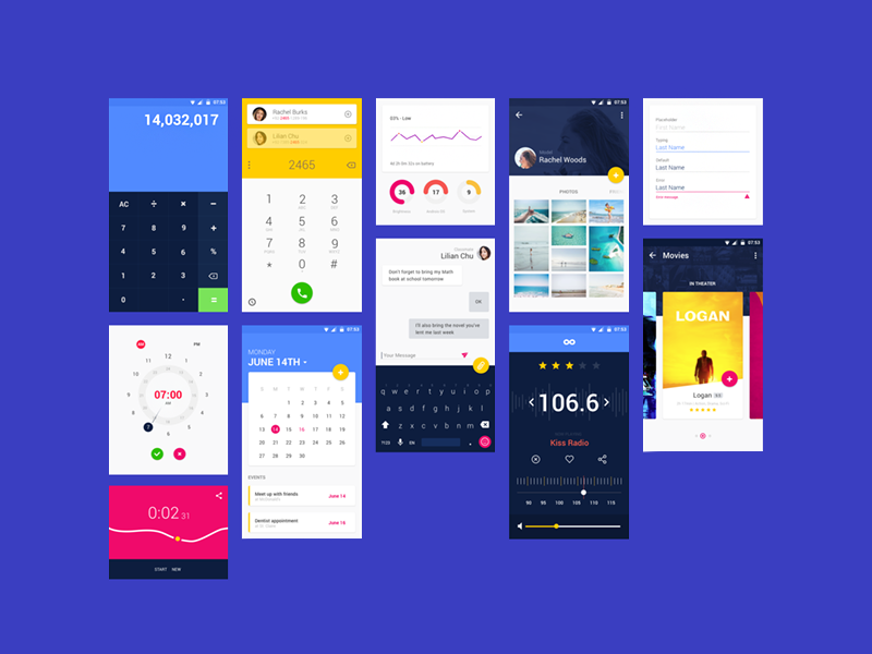 Material design ui kit previev