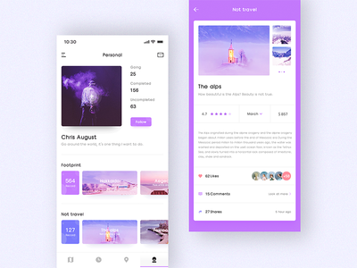 Travel Map - Personal interface violet ui ps