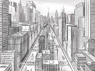 Lockdown Town architecture one-point perspective greyscale digital illustration