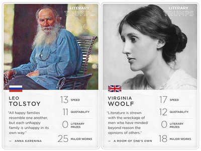 """""""Literary Trumps"""" Concept mockup concept unbound data stats playing cards"""