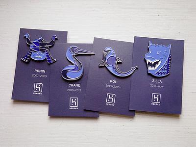 Heroku 10 Year Anniversary Pins swag heroku soft enamel badges pins