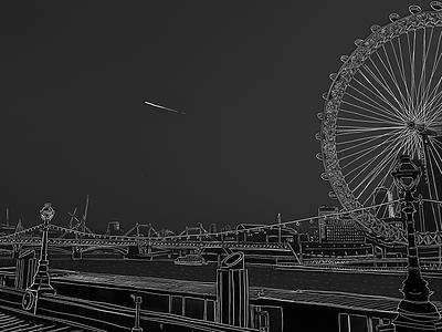 London grayscale drawing line art procreate apple pencil london illustration
