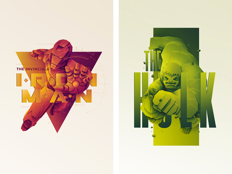 Movie posters inspired by Marvel wall print poster movie marvel ironman interior hulk design graphic deisgn