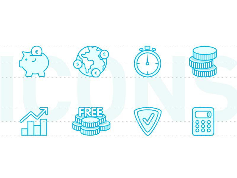 Valuto - icons design for website website vectors ux usability ui icons icon design dashboard currency blue