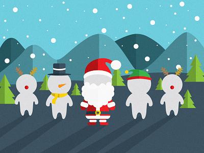 myBrainLab Christmas christmas flat snow santa elves reindeer snowman vector