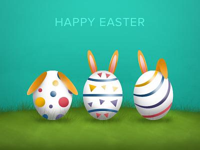 Easter happy easter egg festival design green white