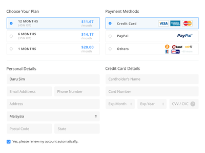 Checkout form credit card plan payment pricing checkout