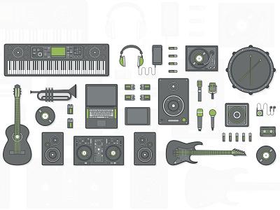 Bookya - Music Instrument Set illustration vector drum guitar singer artist grey green instrument music bookya
