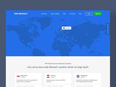 VPN Server Locations user interface web design network country blue maps locations server vpn