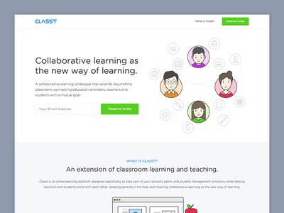 Classt.io - Coming Soon (Landing Page) education collaborative learning green illustration vector blue landing page coming soon classt