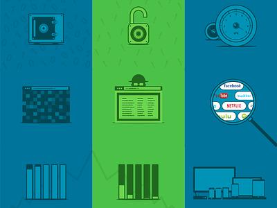 Infographic - VPN vs Proxy green blue icon vector proxy vs vpn infographic