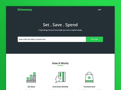 Saveaway (Beta) Landing Page dark green website landing page beta spending saving finance saveaway
