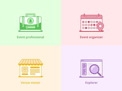 Icon designs for event platform platform illustration explorer venue organizer professional line vector design icon event