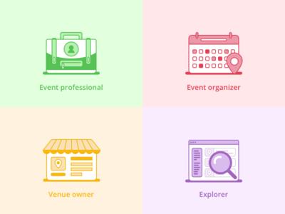 Icon designs for event platform