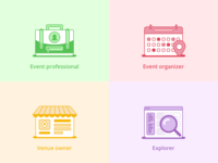 Icon designs for event platform