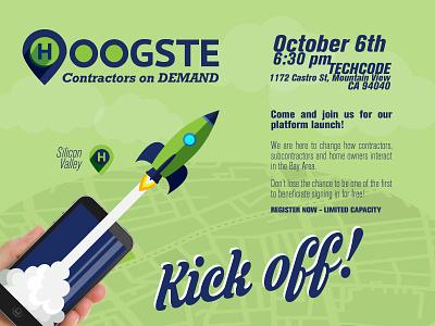 Hoogste Kickoff Post illustration banner postcard