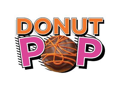 Donut Pop.Logo characters lettering logo