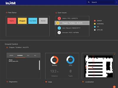 Dark Mode InOrbit UI dashboard design robot dark mode ui