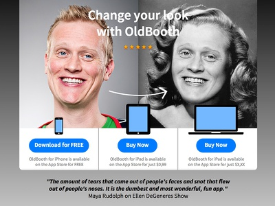 OldBooth 7 desktop landing page oldbooth photo face mask ios7 desktop website webdesign screen
