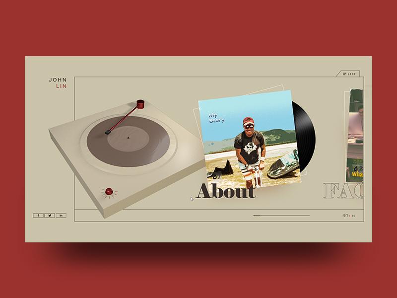 John 1 webgl jquery code design website web vintage menu vinyl music