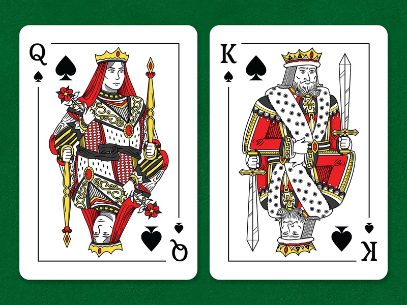 Queen and King of Spades royals card line art lineart cards design card design illustrations deck royal playing card playing cards cards spades queen king