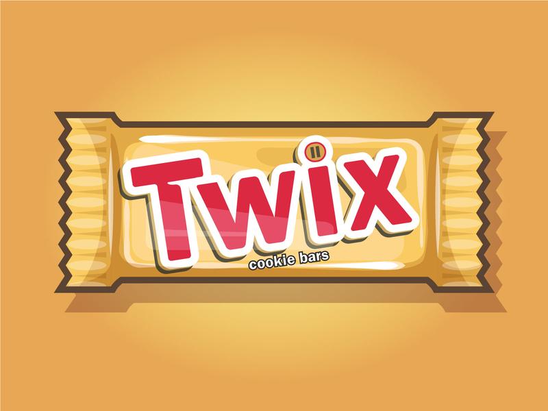 Twix Chocolate Bar wrapping illustrator food illustration 2d brand vector art vector illustration candy food snack chocolate bar chocolate twix
