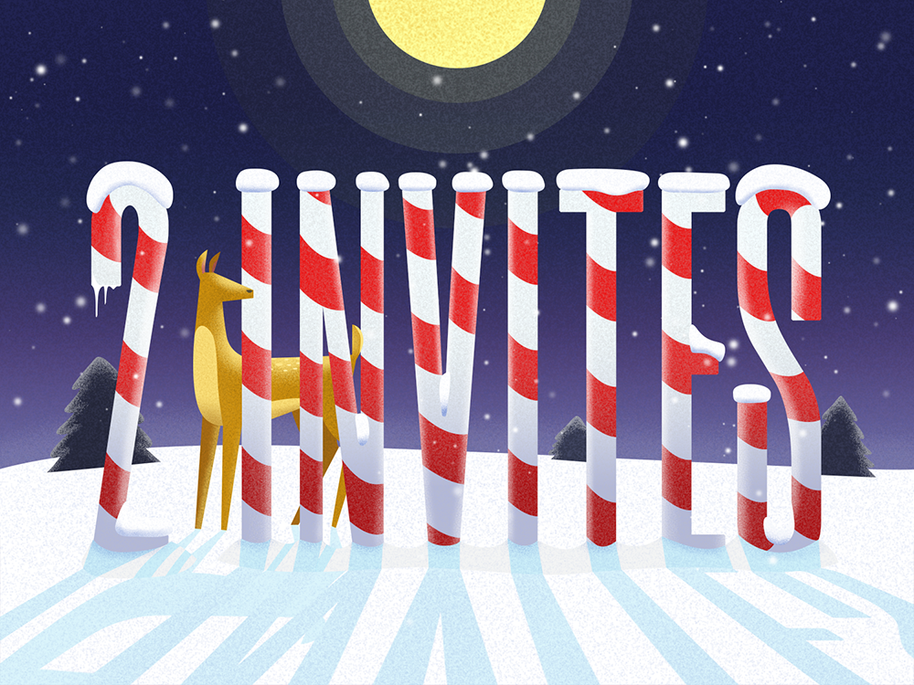 2 Invites Giveaway stripes snowflakes sky north pole nature moon grainy cane invite giveaway invites giveaway animal deer snow night illustration typography winter invites giveaway invite