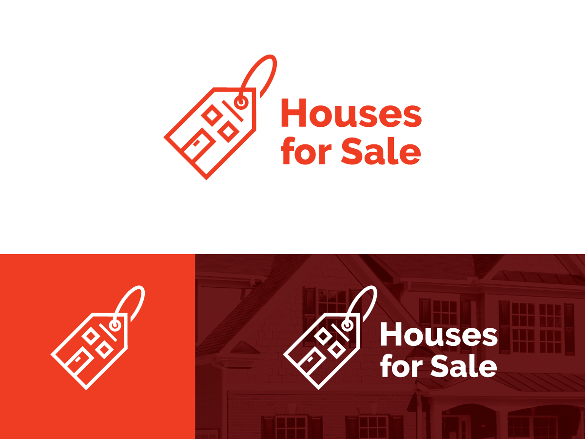 Houses For Sale Logo branding brand apartment sale mark icon residence property building real estate identity price tag tag home houses for sale house logo