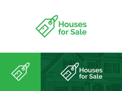 Houses For Sale Logo Concept 2 vector logo design green home mark icon branding identity logo brand apartment residence property price tag tag price sale houses for sale real estate house