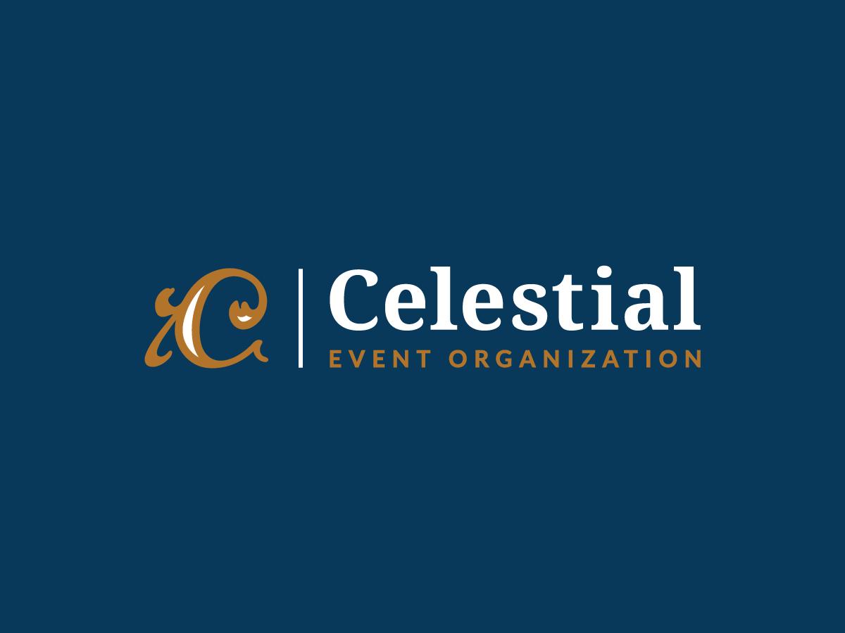 Celestial Event Organisation Logo tamarastantic tamara stantic vintage logo design golden blue typography identity branding ornamental royal occasion logo ceremony planning organization event