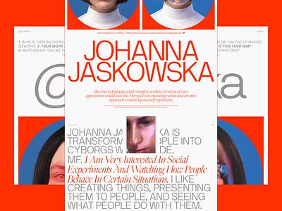 Creative profile page/exploration online magazine magazine layout typogaphy website web design ui ux